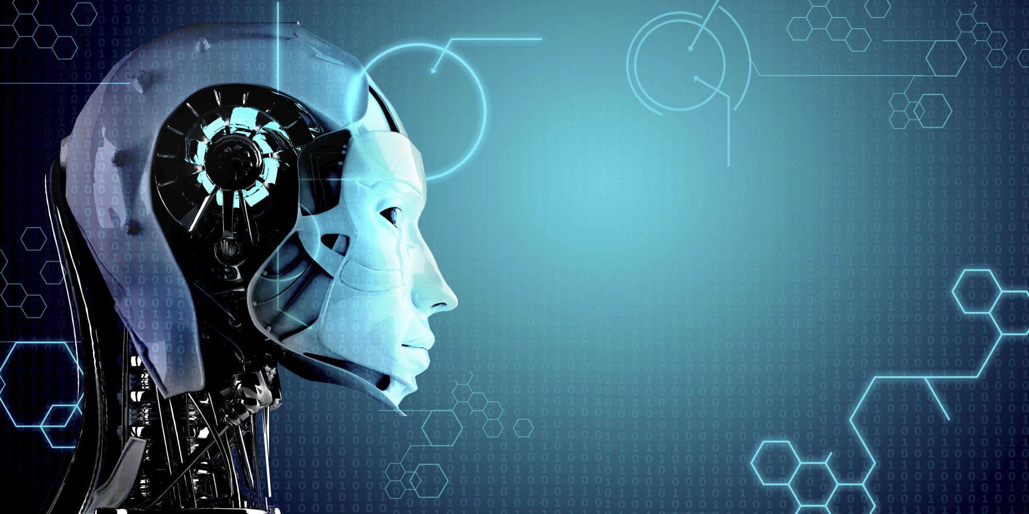 robot women in technology background