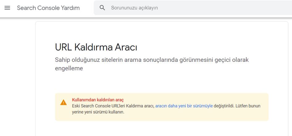 Google URL Kaldırma Aracı