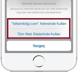 İOS Safari'de Otomatik Okuyucu Görüntüsü Nasıl kullanılır?