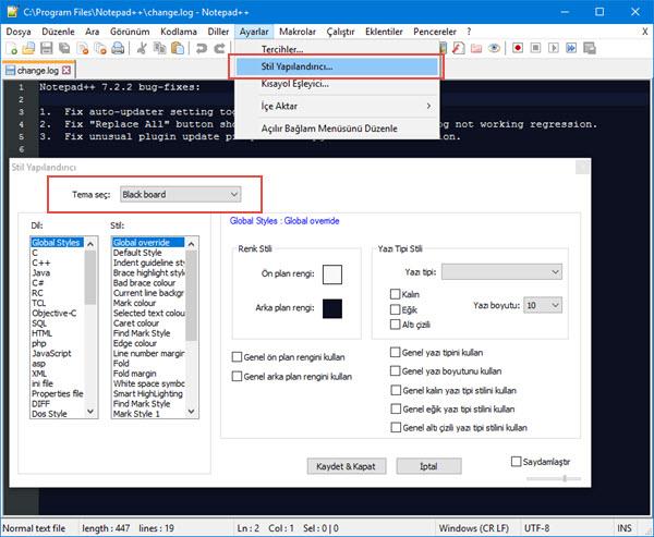 Notepad++ da Koyu Mod Nasıl Aktif Edilir?
